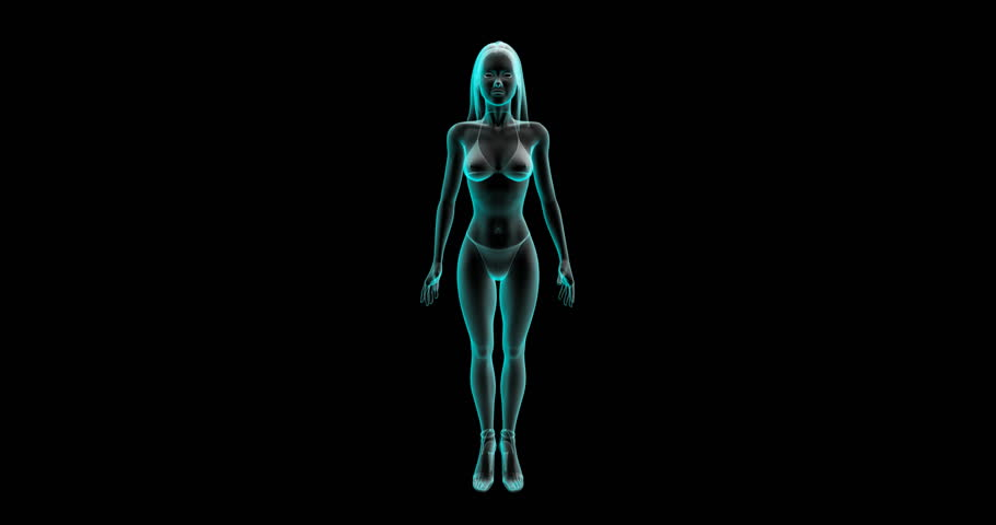 Animated red epicenter of pain in the background of a 3d model of a female figure. Burning of female menstrual pain.