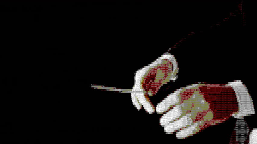 The clapping hands of the conductor of an orchestra. Black background, close-up shot. ASCII 8 bit vintage PC terminal animation fx, from the time when computers didn't have pixel graphics.