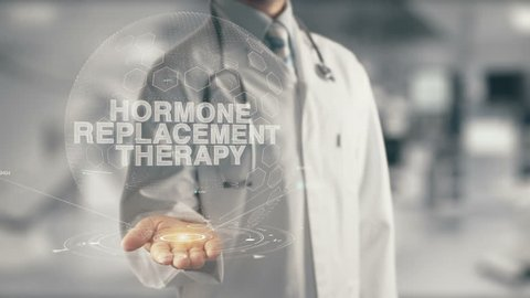 Doctor holding in hand Hormone Replacement Therapy