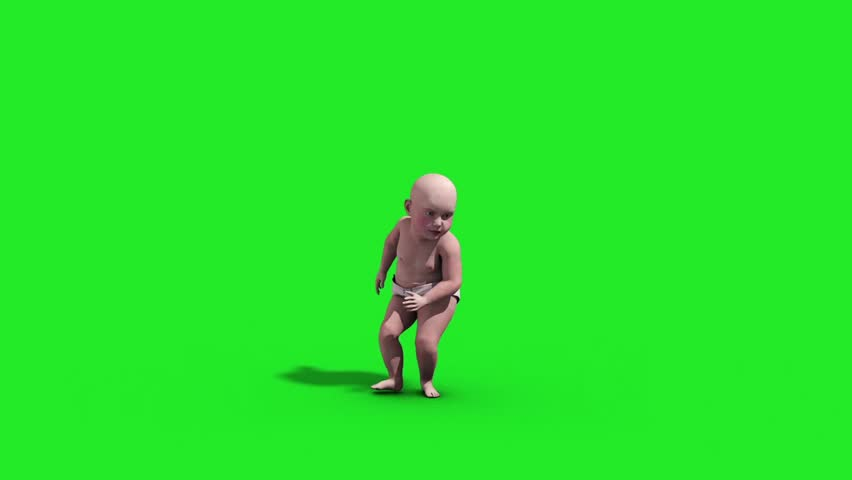 Baby House Dance Dancer Green Screen 3D Rendering Animation Animals