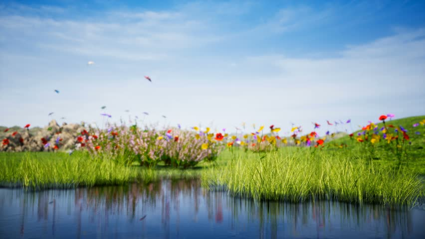 Summer landscape with lake features landscape with a pond reflecting of grass moving from light wind and surrounded by beautiful colorful flowers and flying butterflies