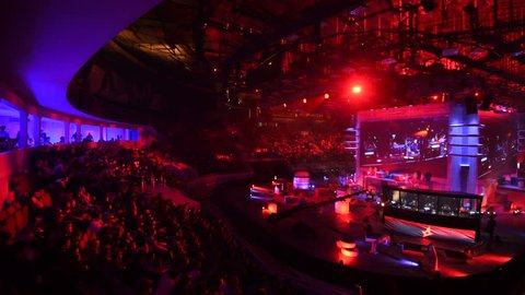 SAINT PETERSBURG, RUSSIA - OCTOBER 28 2017: EPICENTER Counter Strike: Global Offensive cyber sport event. Tribunes full of fans of the game and a big screen with live broadcast.