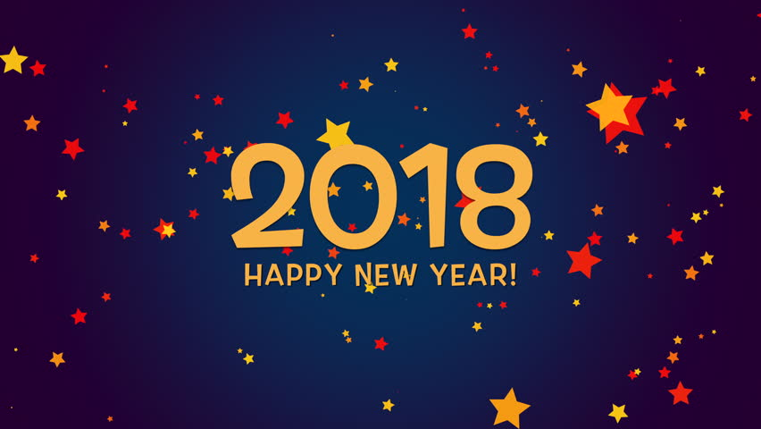 Perfect Happy New Year 2018 Text, Animated Footage In 4K. Close Up Numbers And Text Good Looking
