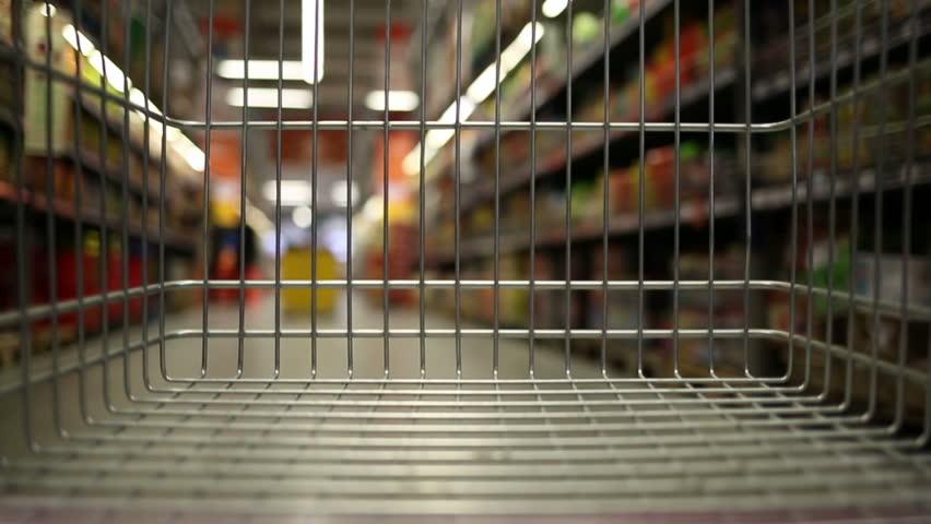 Empty shopping cart moving through supermarket | Shutterstock HD Video #33167488