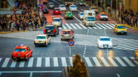 Busy intersection at Shibuya, Central Tokyo - trademarks removed
