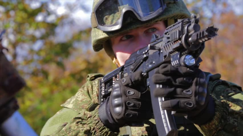 Soldier Aiming With Automatic Rifle Stock Footage Video 100 Royalty Free 33197608 Shutterstock