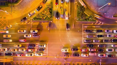 night time illumination shenzhen downtown traffic street crossroad top view 4k timelapse china