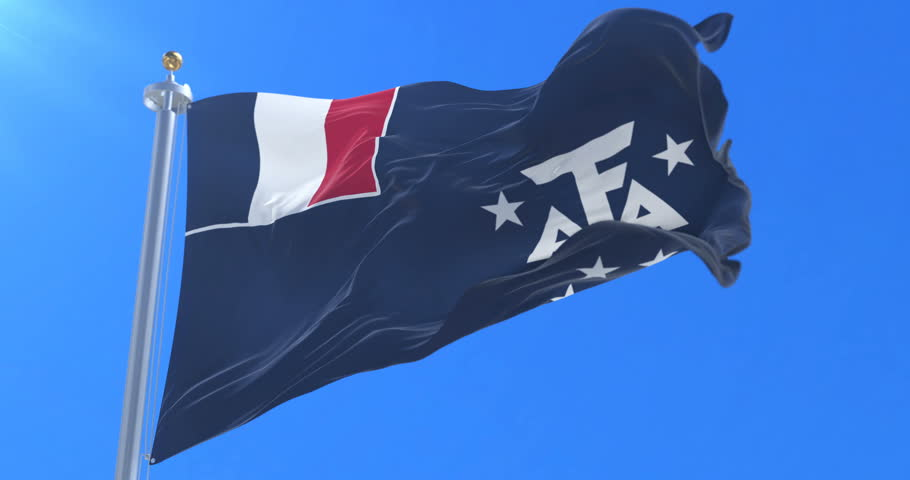 Flag of French Southern and Antarctic Lands waving at wind with blue sky, loop