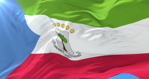 Flag of Equatorial Guinea waving at wind in slow, loop