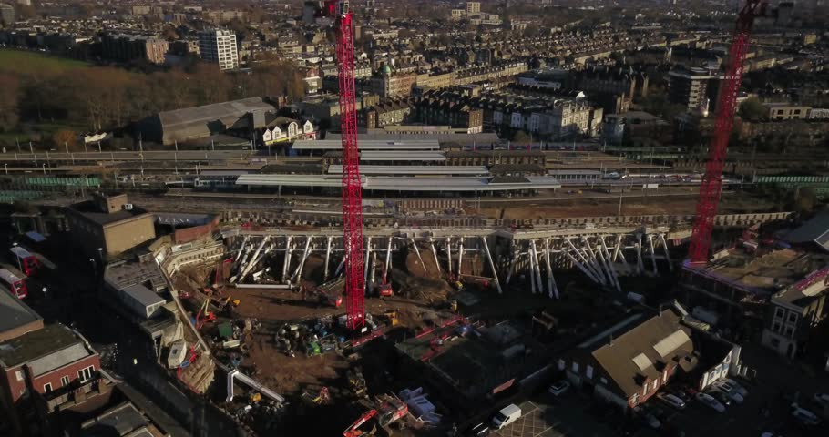 Aerial drone flight over Train Station in the North of London, England.