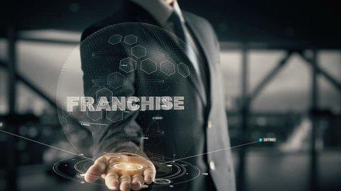 Franchise with hologram businessman concept