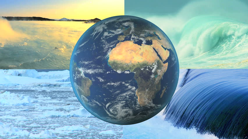 Montage CG revolving earth graphic with images melting arctic ice and future renewable power from water