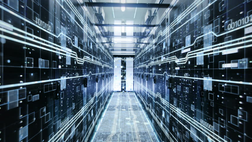 The Concept of: Digitalization of Information Flow Moving Through Rack Servers in Data Center. Shot on RED EPIC-W 8K Helium Cinema Camera. | Shutterstock HD Video #33248488