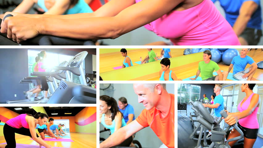 Multiple montage images people following healthy fitness and exercise lifestyle using modern gym equipment | Shutterstock HD Video #3326048