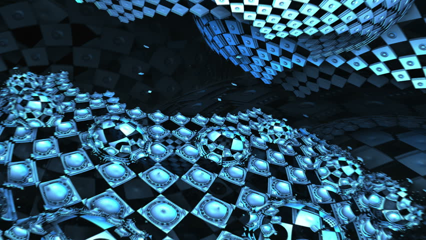 Flight over blue checkered complex structures, particle motion background | Shutterstock HD Video #3327818