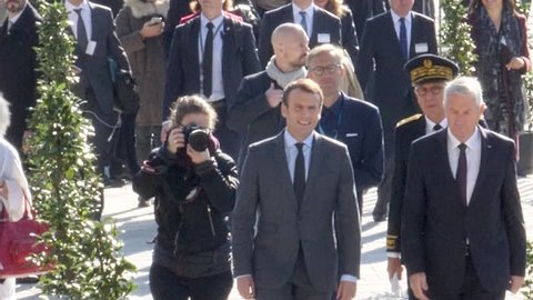 STRASBOURG, FRANCE - OCT 31, 2017: Arrival of Emmanuel Macron French President and Thorbjorn Jagland Secretary General of the Council of Europe at the European Court of Human Rights in Strasbourg