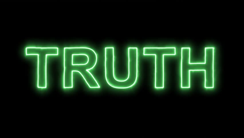 Neon flickering green text TRUTH in the haze. Alpha channel Premultiplied - Matted with color black