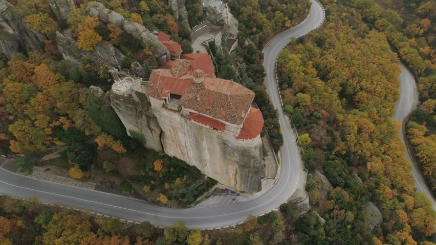 Aerial view of the Meteora rocky landscape and monasteries in Greece. | Shutterstock HD Video #33308908