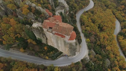 Aerial view of the Meteora rocky landscape and monasteries in Greece.
