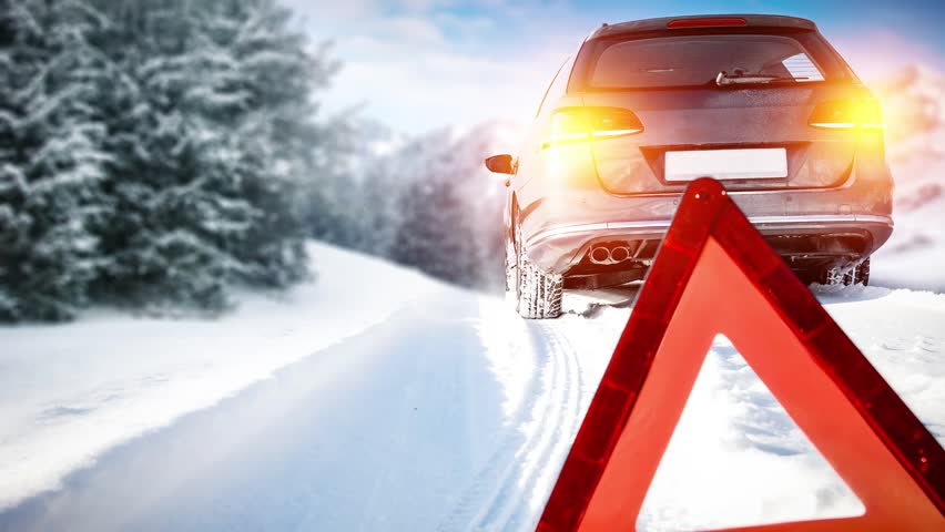 Winter time and car on road    Shutterstock HD Video #33343258