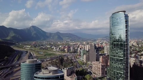 "Aerial view of ""Manquehue hill"" and ""Vitacura bicentennial park"", on a clear day in Santiago of Chile"