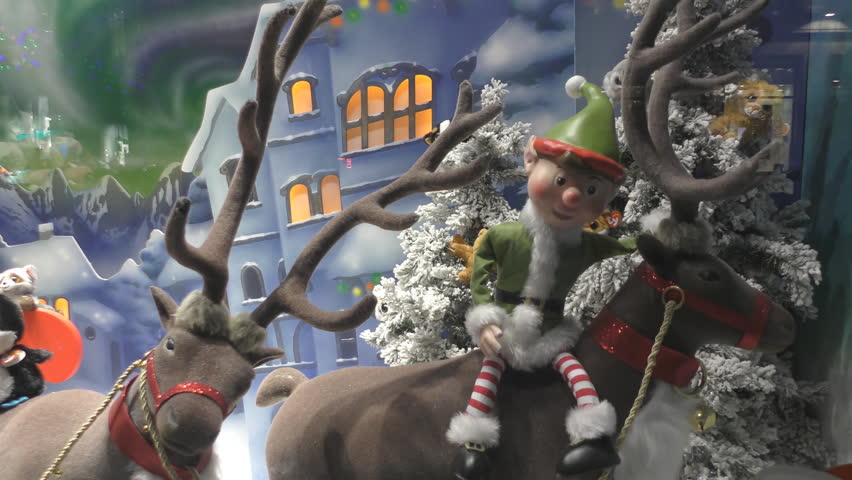 Street Christmas decorations. Deer and Christmas tree. | Shutterstock HD Video #33389608
