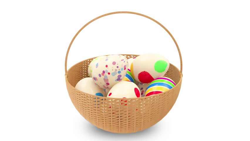 Animation of Painted Easter Eggs in a Basket. Seamless looping HD Video Clip with Alpha Channel
