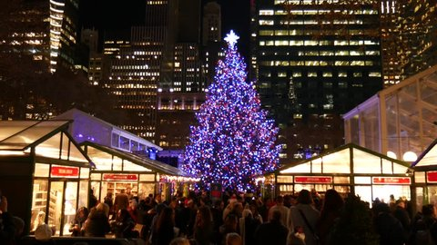 Bryant Park Christmas Market.New York Ny December 2017 Bryant Park Christmas Fair And Tree