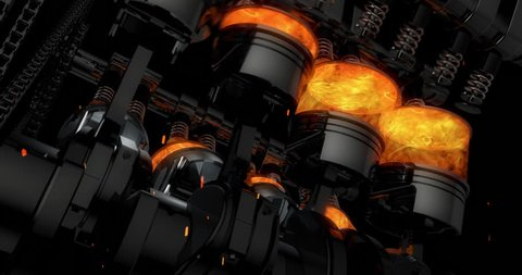 Close Up Working V8 Engine Animation With Sparks - Slow Camera Rotation