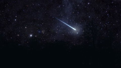A meteor, or shooting star, illuminates the sky