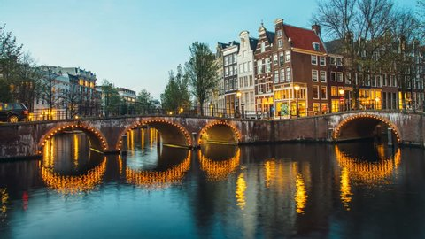 Timelapse Canals of Amsterdam, the Netherlands. Amsterdam's most famous canal 4k