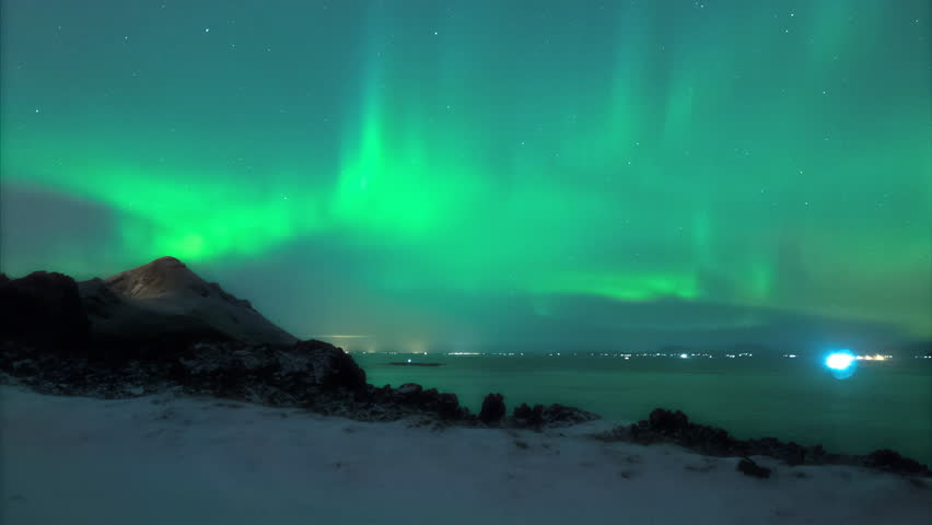 Northerrn lights in Iceland - aurora borealis time lapse 4K