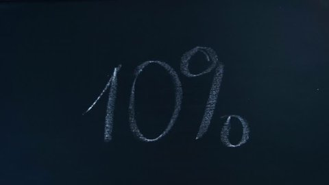 a female hand writes chalk digit 10 ten percent with chalk and then wipes this inscription off the black board. Acceleration