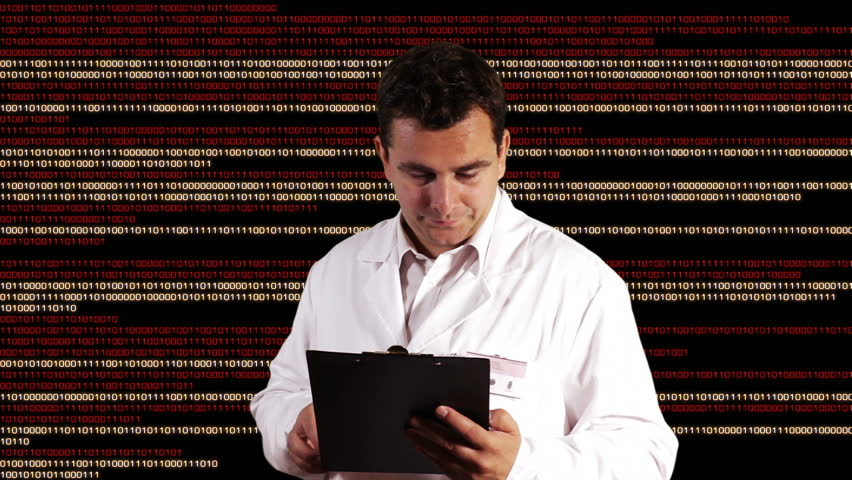 Scientist Checking Documents Binary Numbers Background | Shutterstock HD Video #3347948