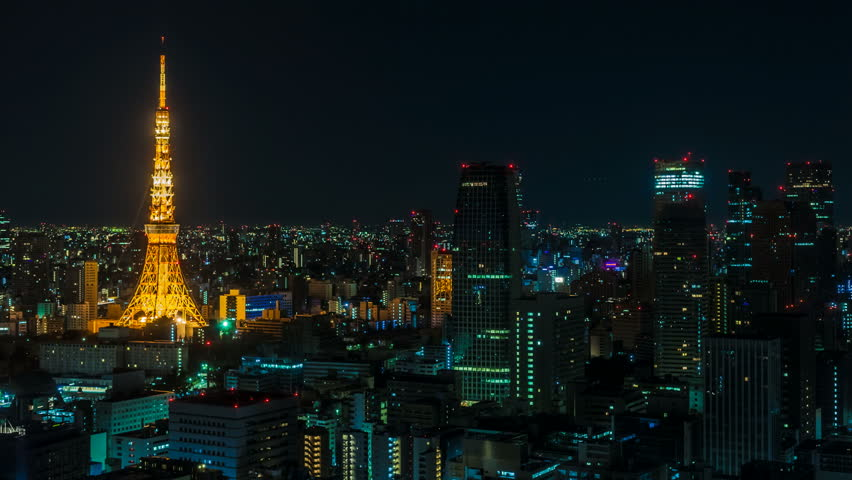Timelapse video showing the transition from night to day in Tokyo (Japan)