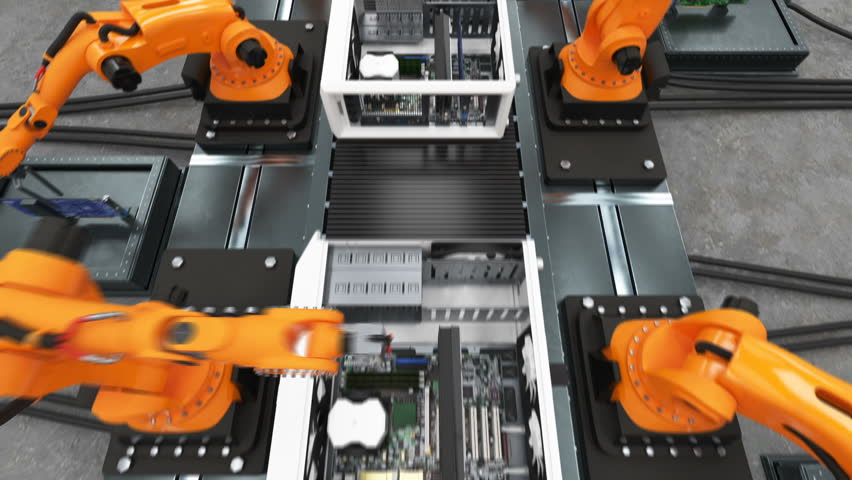 Band of Robotic Arms Assembling Computer Cases On Conveyor Belt. Modern Advanced Automated Process. 3d Animation. Business, Industrial and Technology Concept. Full HD 1920x1080. | Shutterstock HD Video #33491248