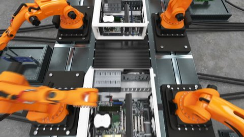 Band of Robotic Arms Assembling Computer Cases On Conveyor Belt. Modern Advanced Automated Process. 3d Animation. Business, Industrial and Technology Concept. Full HD 1920x1080.