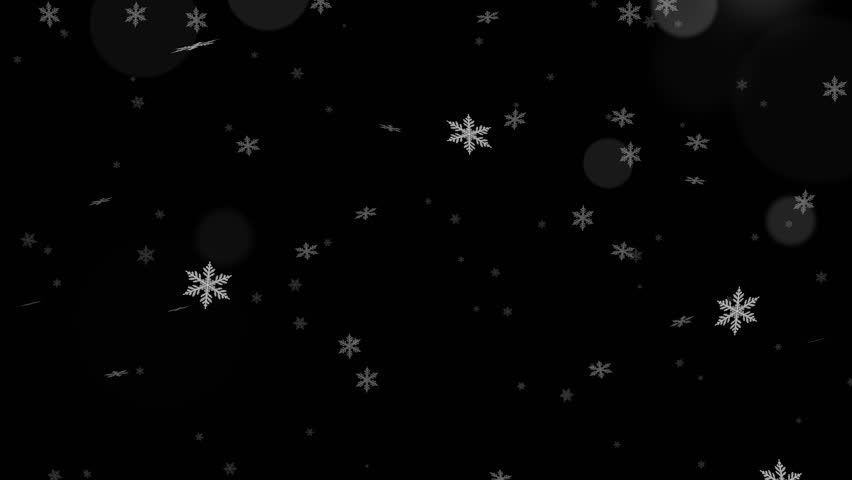 Beautiful transparency Alpha loopable abstract winter snow background with falling snowflakes and floating blurry glitter particles lights. 4K seamless loop video footage of the snowfall.