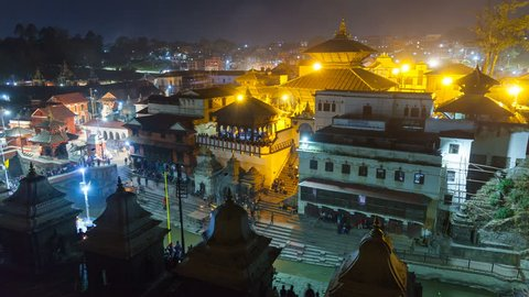 Cremation in Pashupatinath Kathmandu. The Hindu ritual of cremation in Pashupatinath Temple at night, Nepal