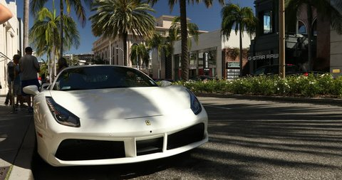 Los Angeles, USA - May 20, 2017: Rodeo Drive in the Beverly Hills shopping district of Los Angeles California USA. Rodeo drive is a famous high-end shopping street.