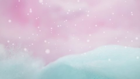 colorful cotton candy and snowflakes falling in soft color for background