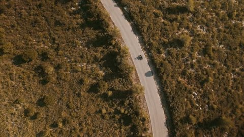Drone follows lonely bike traveler riding his motorcycle on empty mountain road at sunny day, trees and bushes on sides of the road
