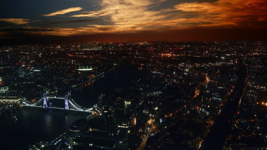 Aerial shot of Central London with view of the River Thames,time lapse, sunset view | Shutterstock HD Video #33529288