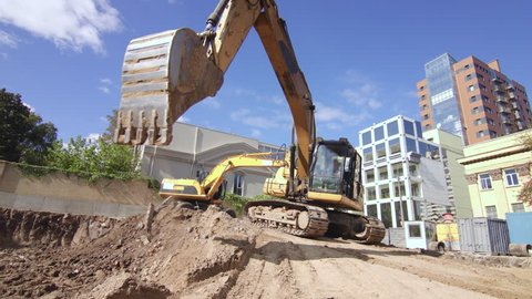 Excavator working on construction site