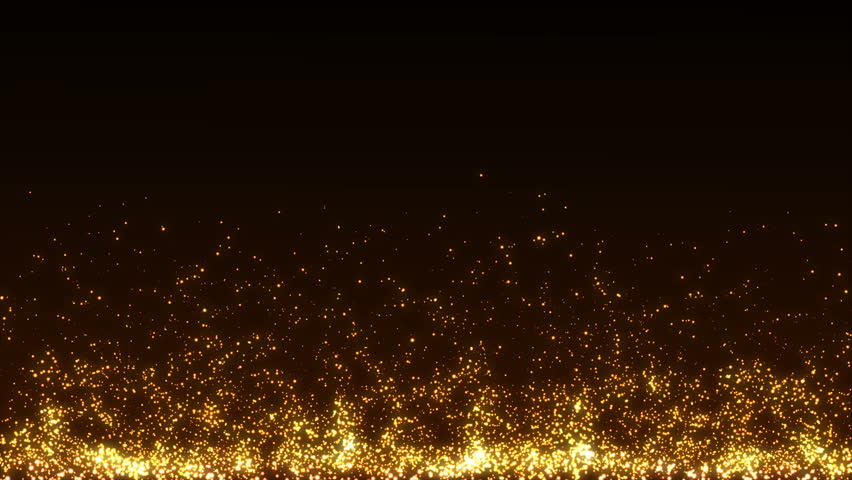 Abstract Golden Christmas motion background. Gold sparkles and round glitter bokeh particles and light. New year collection