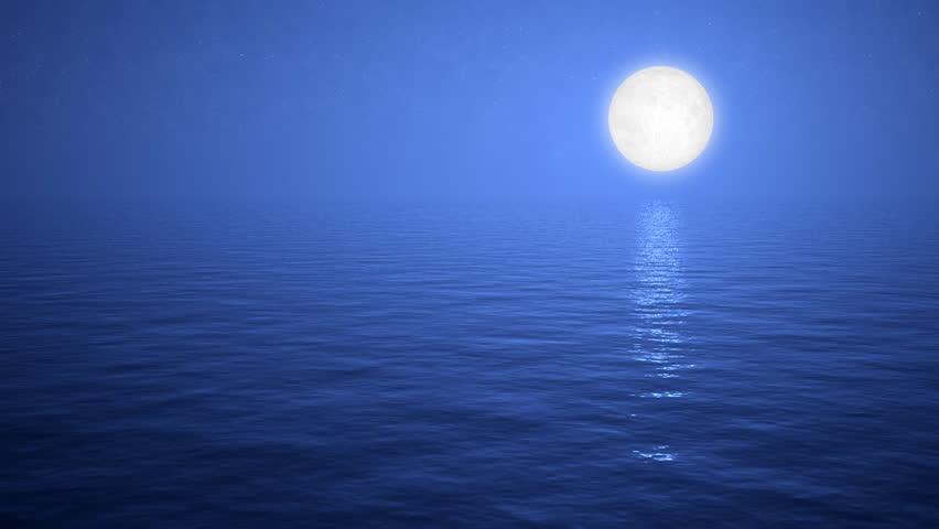 Blue Moon Ocean Calm - HD stock video clip