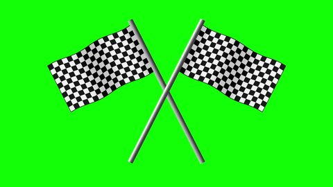 Checkered Flags Crossed Animated Waving