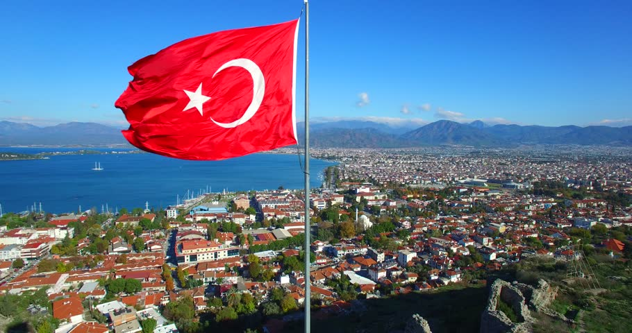 Fethiye Castle with Turkish Flag  aerial drone footage