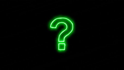 Neon flickering green symbol of the question, ? in the haze. Alpha channel Premultiplied - Matted with color black