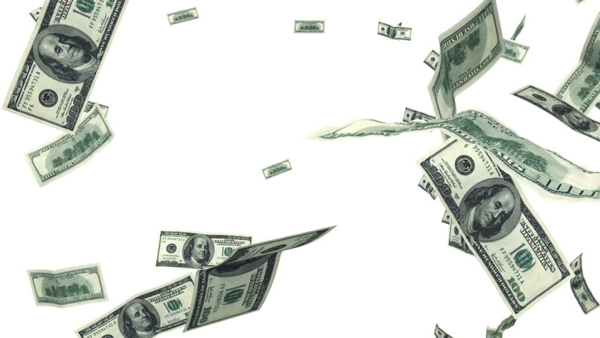 Hundred Dollar bills flying up in looped animation on white. HD 1080. Alpha mask. | Shutterstock HD Video #3362588